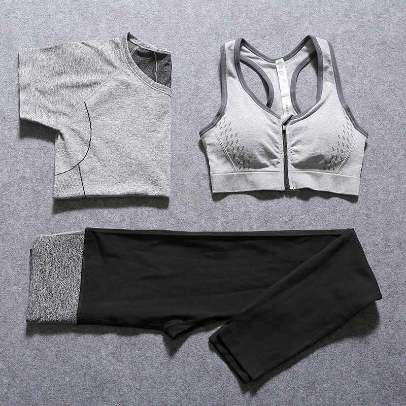 2016 New Women Yoga Sport Suit Bra Set 3 Piece Female Short-sleeved Summer Sportswear Gym Running Workout Clothes<br><br>Aliexpress