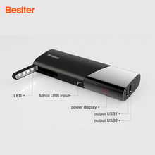 Besiter 10000mah External Battery Charger for Phones Power Bank Portable Dual USB Port Power Charger with LCD for Gift