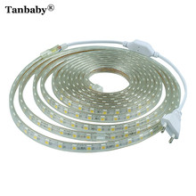 Tanbaby SMD 5050 AC220V RGB LED Strip Light Waterproof Flexible Bar Light 60LED/M 1M~ 25M With EU Plug Outdoor Garden Decoration