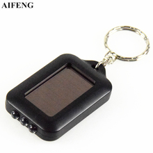 AIFENG Led Flashlight Mini 3Leds Solar Power Rechargeable Led Flashlight Keychain Light Torch Ring For Hiking Camping Flashlight(China)