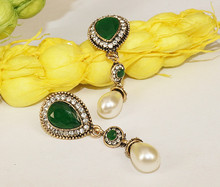 Vintage Long Dark Green Pear Faux Pearl Drop Earrings Gold Beads Clear Crystal Art Deco Antique Teardrop Pearl Dangle Earrings