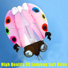 free shipping high quality 3D ladybug soft kite with handle line outdoor toys weifang kite factory octopus kite wheel ripstop(China)
