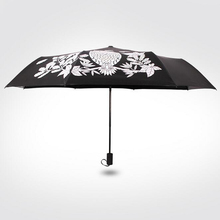 Creative Encountered change color cute owl Three-folding Magic umbrella rain women mujer novelty items good choice for gift