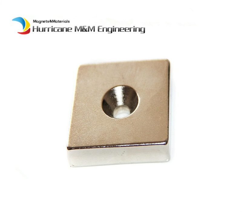 2 pcs/lot NdFeB Fix Magnet 50x50x10 mm with M8 Screw Countersunk Hole Block N42 Neodymium Rare Earth Permanent Magnet<br>