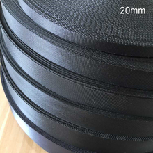 20mm 15mm Webbing Black 20yards/lot Polyester Webbing Strap for Belt Webbing Strapping Ribbon Bags Braided Strap Backpack Belt(China)
