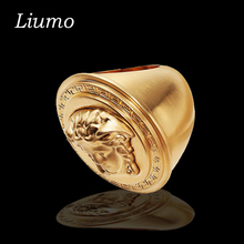 Liumo New Punk Style Great Wall Big Gold Color Men Stainless Steel Hip Hop Medusa Head Ring Male Wedding Bands Rings Lr129