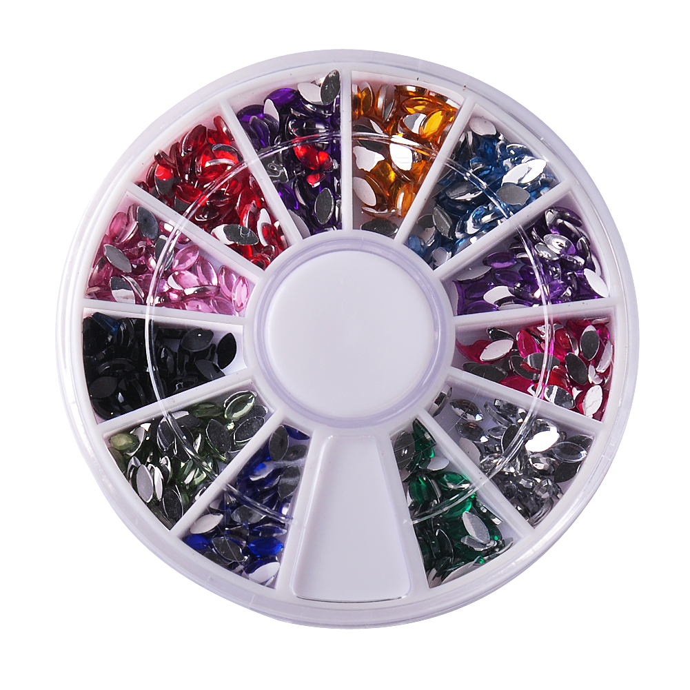 1 Wheel HOT AB 12 Colors Acrylic Oval Rhinestone Nail Art Decorations DIY Manicure Wheel Tips<br><br>Aliexpress