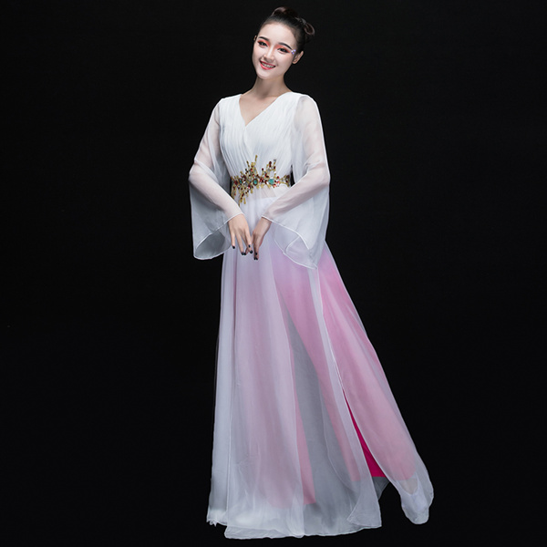 Women\`s new elegant modern dance costume sleeves dance dress01