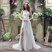 Real Pic Simple Elegant Wedding Dresses Split Side A Line Lace Up Sweetheart Bridal Gowns Plus Size Need Extra Fees