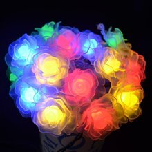 16ft 20 LED Seasonal Decoration Rose Flower Fairy Night Lights for Wedding Christmas Holiday Party Decor Valentine Lamps