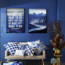 modern scenery Letter Blue landscape photography fog mountain Text Canvas Art nordic poster Print 5 piece for living room