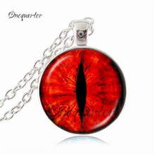 Creature eye jewelry red dragon eye necklace red cat eye pendant silver chain jewerly art glass picture cabochon jewellery