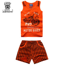 XIAOYOUYU Summer New Boys Sport Suit Fashion Motor Bike Pattern Children Clothing Set Vest + Grid Shorts Tracksuit Size 100-140
