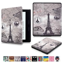High quality Customized Protective PU Leather Back Cover Printing Flower Luxury Cover case For Amazon Kindle Oasis 6inch
