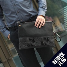 Quality PU Crocodile pattern Leather Folder Bag A4 Paper For Document Famous Brand  Zipper Clutch bag file Business Office Bag