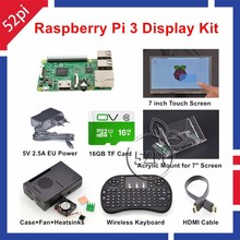 52Pi Raspberry Pi 3 Starter Kit with 7'' Touch Screen+Acrylic Mount+Heat Sinks+16GB SD Card+Case+Fan+5V 2.5A US/EU/UK/AU Power