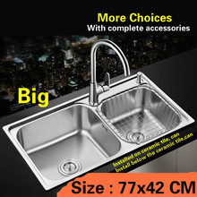 Free shipping Standard Kitchen sink big double groove 304 stainless steel hot sell 77x42 CM(China)