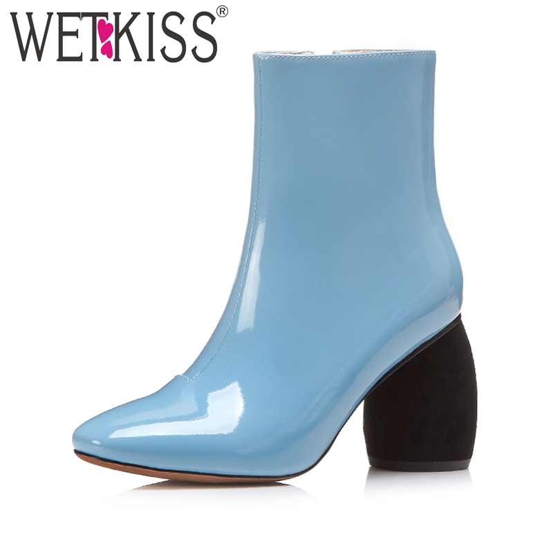 Candy Color Ankle Boots Womens High Strange Heel Shoes Female Footwear 2017 New Arrival Patent Winter Boots Side Zip Plus Size<br>