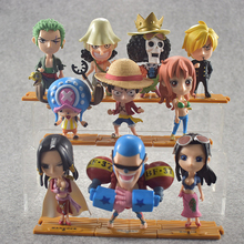 10 Pieces/Set 6-13cm Japanese One Piece Luffy Zoro Nami Robin PVC Anime Action Figure Toys Kids Adult Collection Model Gift