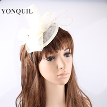NEW 17 colors millinery fascinators hats sinamay base with loops bridal cocktail hats ostrich quill strip party hair accessories