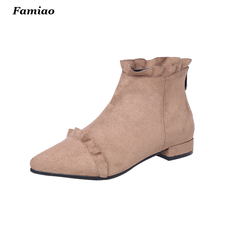 2017 fashion style ladies suede leather boots top quality pointed toe flats heels ankle boots shoes woman<br><br>Aliexpress