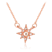 Starburst Cut Raw Hexagram Star Necklace Tiny Rhinestone Crystal Pendant Necklace Rose Gold Fashion Jewelry Gift for Women