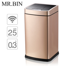 MR.BIN Smart Sensor Trash Can Stainless Steel Induction Dustbin Environmentally Plastic Home Automatic Waste Bin WB-SS001 12L