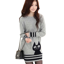 Fall Winter Clothes New Women Sweaters Pullovers Sweet Wild Cat  Jumper Long Thicker Sweater Bottoming Vestidos LXJ045