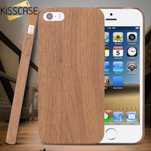 KISSCASE Wood Skin Case for iPhone 5S SE 6 6 7 Plus Ultra Thin Plastic PC Protective Cover for iPhone 5S 6S 7 Shockproof Case