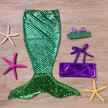 Puseky Kids Girls Clothes Summer Dress Children Baby Girls The Little Mermaid Tail Bikini Suit Swim Costume 6M-7Y(China)