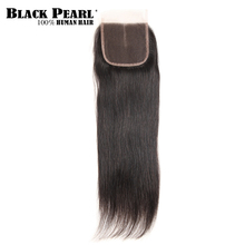 Black Pearl  Remy Hair Closure Brazilian Straight Human Hair Lace Closure 4x4 Free Part Middle Part Three Part  Closure (China)