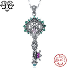 J.C Women Key Shaped Lady's Emerald Ruby Pink Topaz Amethyst Topaz 925 Sterling Silver Necklace Fine Jewelry for Eternity Lover(China)