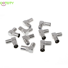 10Pcs 90 Degree Right Angled TV Aerial Cable Connector RF Coaxial F Female to TV Male Plug to Female Socket  828 Promotion