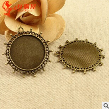 A3569 Free Shipping 20pcs/bag   fittings 30mm colour bronze round Antique diy pendant Jewelry findings for chain  accessories