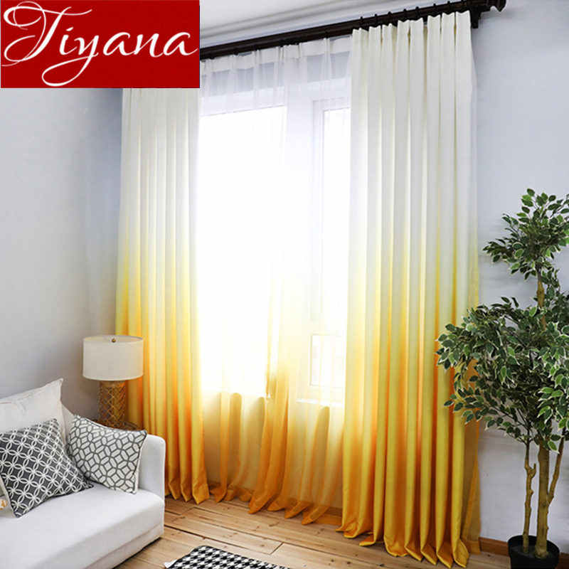 Yellow Curtain for Living Room Gradient Solid Blue Window Bedroom Treatment Tulle Curtain Drape Sheer Fabrics Kitchen T&185#30