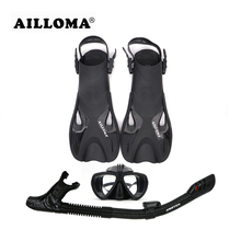 AILLOMA Adjustable Buckle Camera Diving Mask Snorkel Set Full Dry Tube Scuba Snorkeling Anti-Fog Goggles Diver equipment Fins(China)