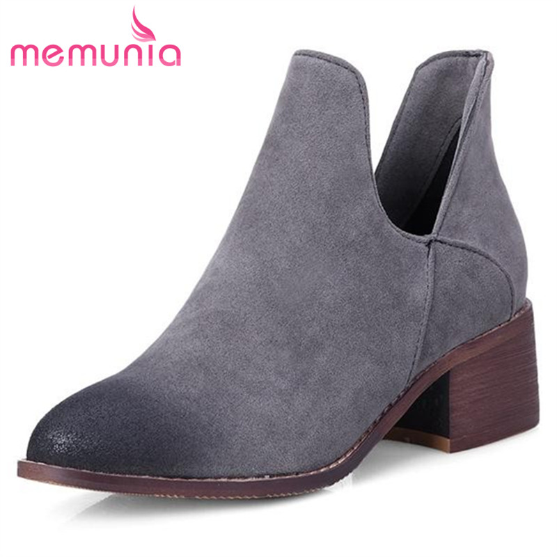 MEMUNIA fashion big size 34-42 pu nubuck leather ankle boots for women square medium heel pointed toe solid simple Spring boots<br>