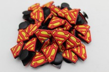 50 Pcs PVC Superman logo Shoe accessories Shoe Charms Shoe Decorations  for Croc Bracelet Wristband Kid Gift