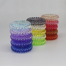 (12pcs) High Quality Hair Scrunchie Transparent Telephone Wire Elastic Hairbands  for Children in Small Size 15 Colors available