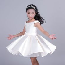 kids girls shoulderl bow dress kids sleeveless for girl solid princess dress red pink purple white kids party dress