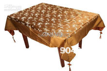 Rectangular Brown Damask Tablecloth Table Covers Embroidered Dining Room Table Cloths Holiday Tablecloths size L 2 x W 1.5 m 1pc