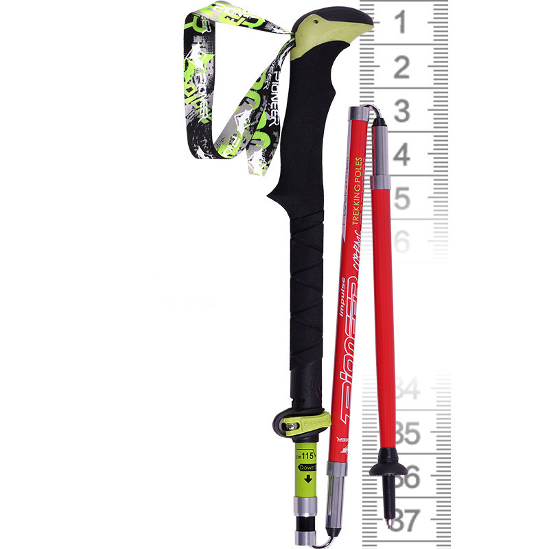 PIOMEER Outdoor Carbon Fiber Ultralight Folding Short Camping Trekking Hiking Climbing Stick Alpenstock Pole 37-135cm<br>