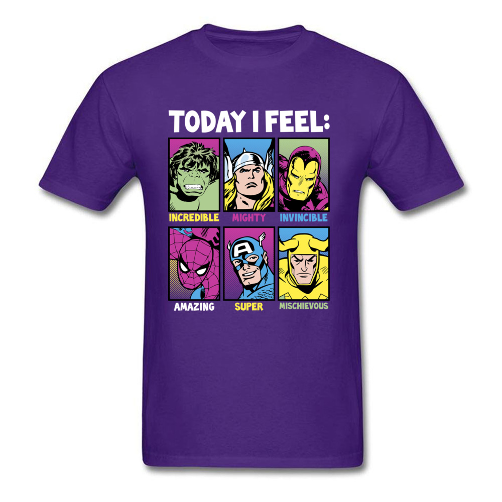 Star Wars Today I Feel Marvel Heroes T Shirts Funky Mens Summer/Autumn Tops Tees Casual Top T-shirts Crewneck 100% Cotton Fabric Today I Feel Marvel Heroes purple