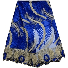 2017 African Cord Lace High Quality French Lace Fabric With Stones Blue Color African Lace Fabric For Nigerian Wedding Dress(China)