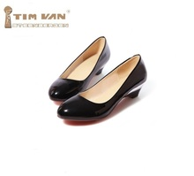 New Plain women's low-heeled single Patent Leather Beige Black White Basic work shoes wedges plus Big size 35-47 46 45 44 43