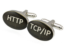 Sunnylink Men's Cuff Links New Gray Silver Http TCP/IP Cufflinks for shirt  M1188  20mm