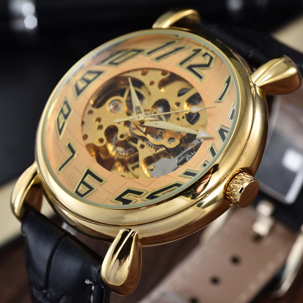 Goer Luxury Brand Automatic Watches Men Fashion Sports Skeleton Mechanical Watches Men Wrist Watch PU Leather relogio masculino<br><br>Aliexpress