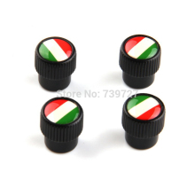 New Arrival Universal 4Pcs/Set Car Styling Italy Flag Alloy Car Wheel Tire Air Valves Tyre Dust Caps For Auto Car Truck Black