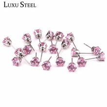 LUXUSTEEL Size 3mm To 10mm Fashion Stainless Steel Pink Color Zircon Stud Earrings For Lady Jewelry Gift(China)