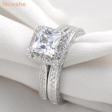 Newshe 1.25 Ct Princess Cut Zirconia Silver Plated Wedding Ring Set Engagement Band Classic Jewelry For Women Shipp From US(China)